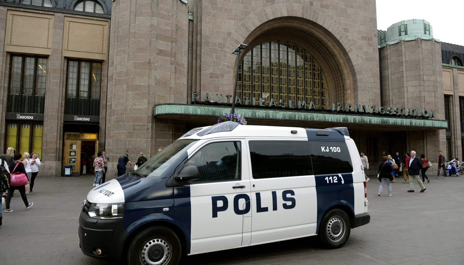 Finnish police patrol in front of the Central Railway Station, after stabbings in Turku, in Central Helsinki