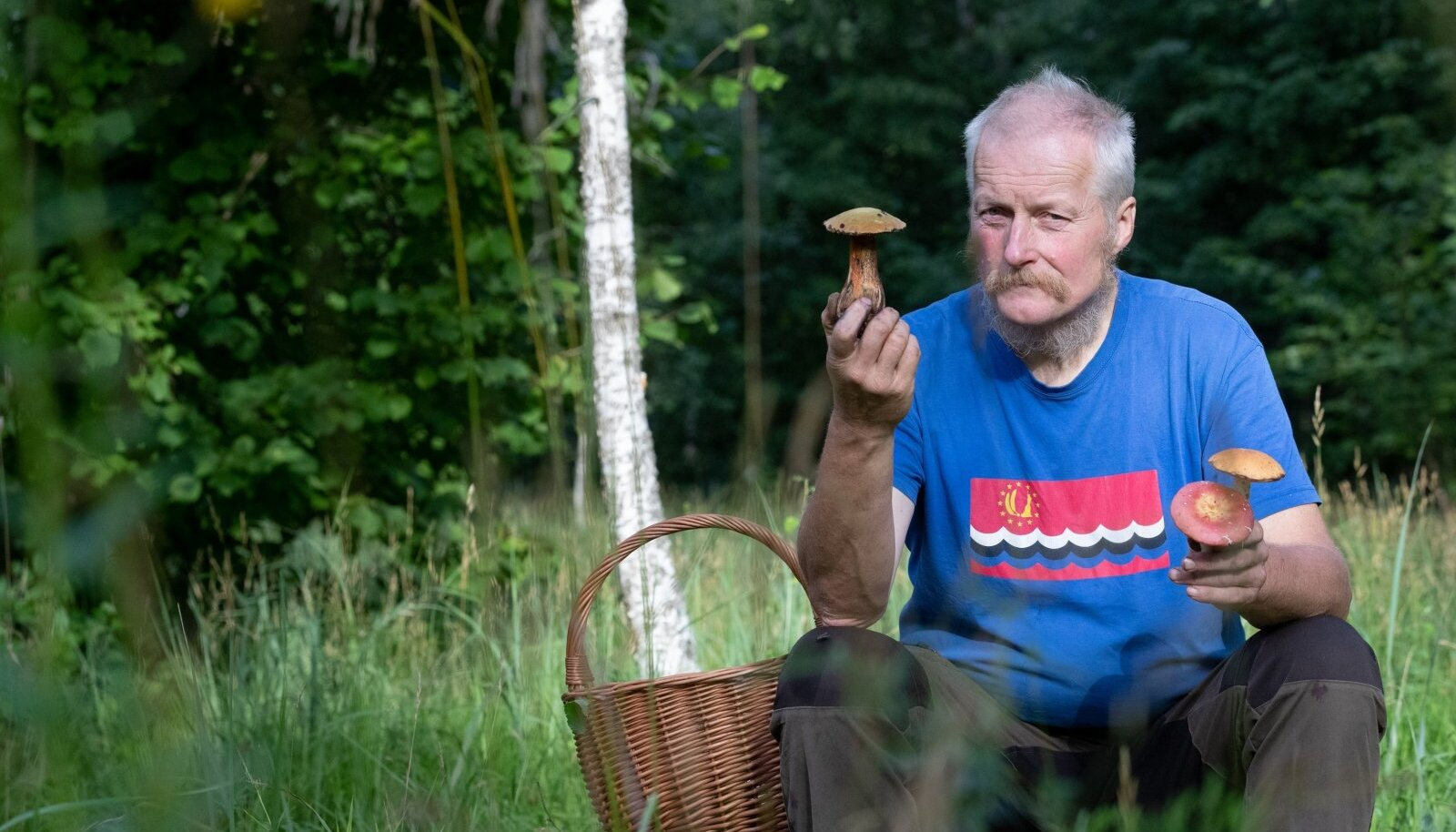 Tõnu Ploompuu teisipäevaste leidudega: tema paremas käes on tamme-kivipuravik, vasakus Lundelli pilvik (eespool) ja haavapuravik. Mõlemad puravikud on Ploompuu sõnul söödavad, kui neid küllaldaselt küpsetada.