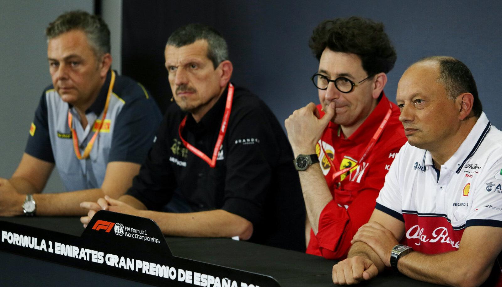 Vasakult: Pirelli juht Mario Isola, Haasi pealik Guenther Steiner, Ferrari boss Mattia Binotto ja Alfa Romeo pealik Frederic Vasseur.