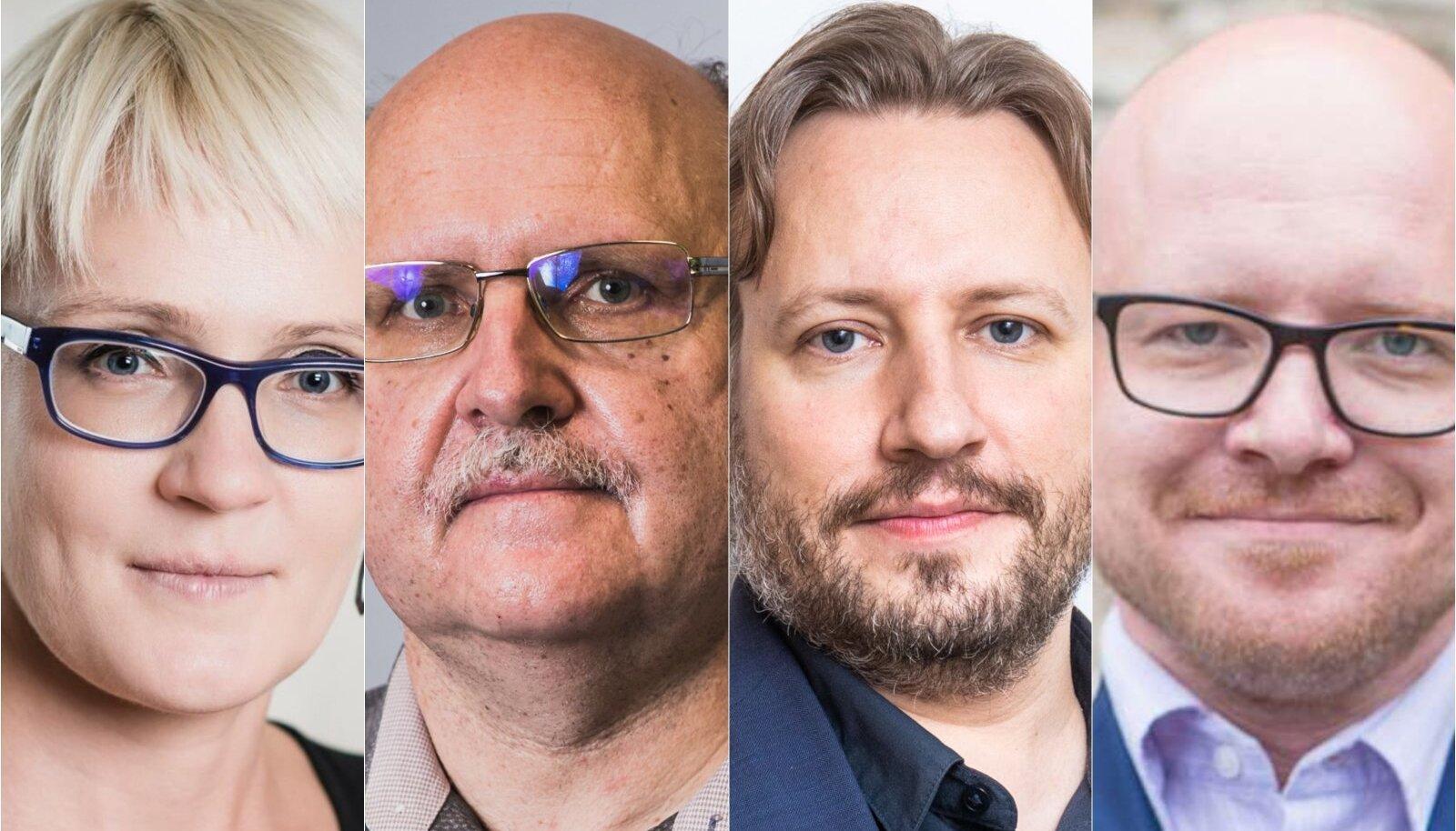 VASAKULT PAREMALE: perearst Le Vallikivi, viroloog Andres Merits, koroonaprognoosija Mario Kadastik, majandusteadlane Indrek Seppo.