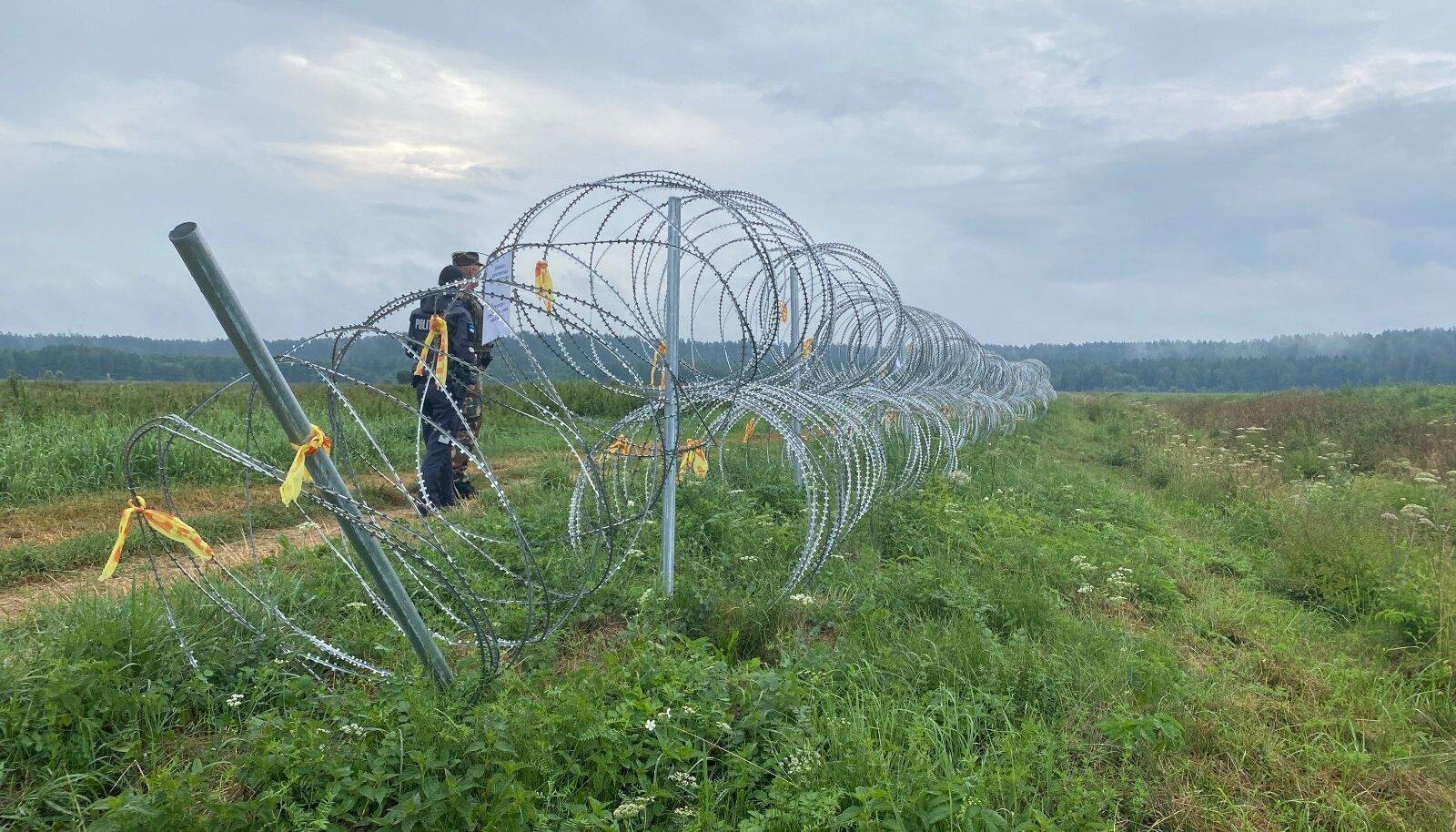 Здесь заканчивается забор из колючей проволоки. У Литвы при строительстве заграждения она закончилась, Эстония обещала прислать проволоку в качестве гумантираной помощи. Но поможет ли?