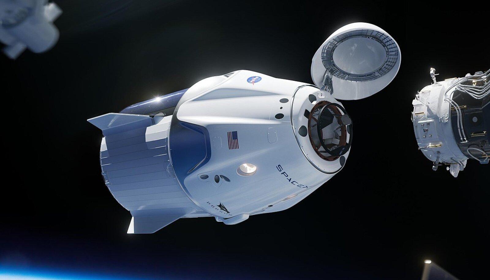 Crew Dragon valmistub ISS-iga ühendust looma (Foto: Wikimedia Commons / SpaceX, NASA)