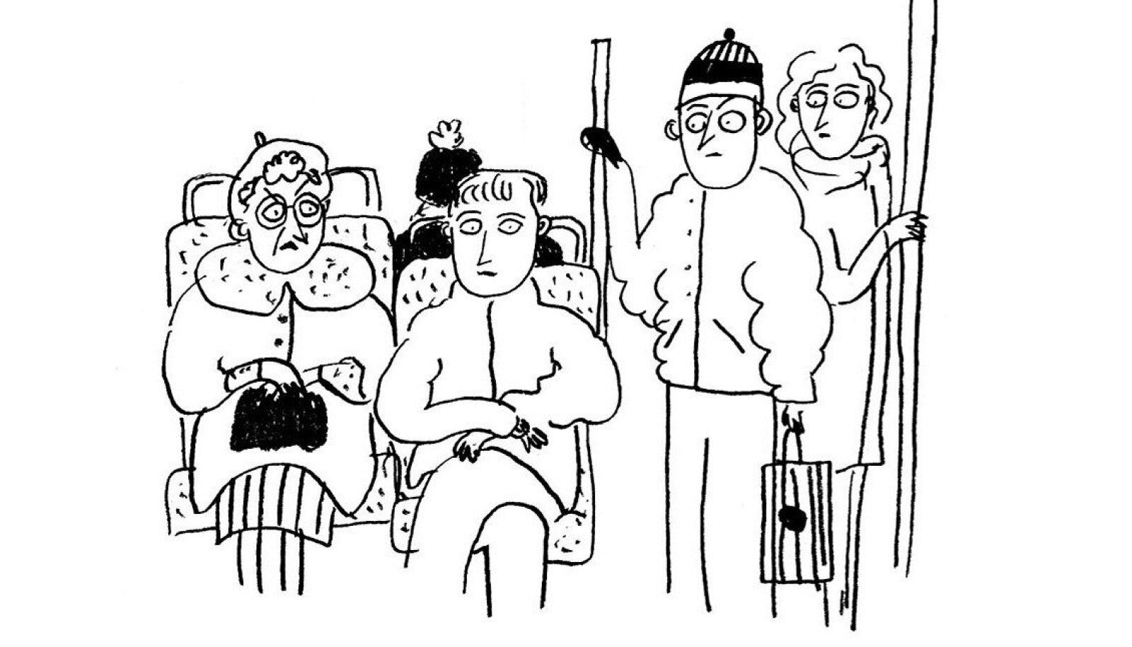 """""""Bussis"""". Illustratsioon: AW (Liisa Kruusmägi ja Janno Pikkat)"""