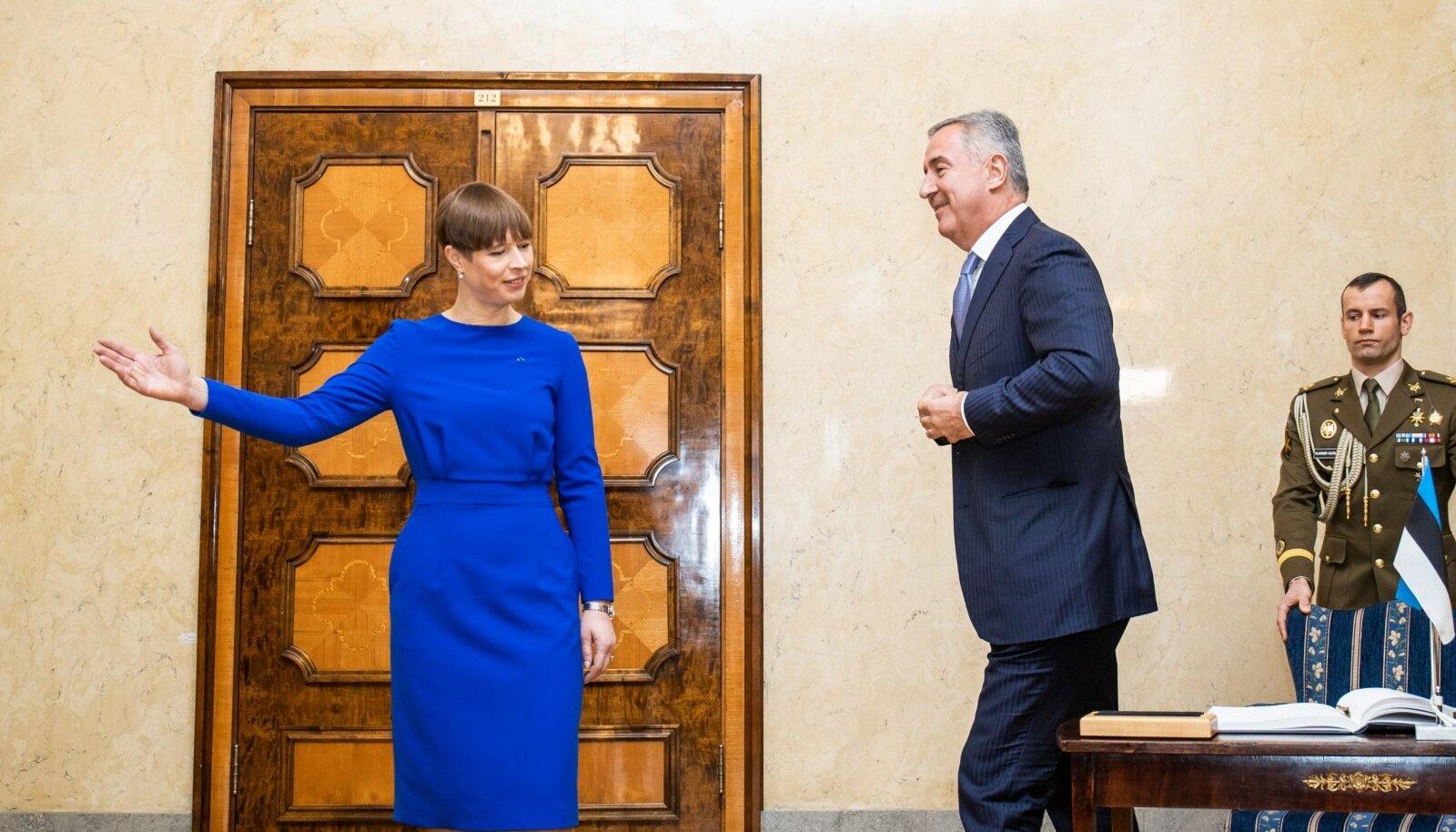 Президент Эстонии Керсти Кальюлайд со своим коллегой из Черногории Мило Джукановичем