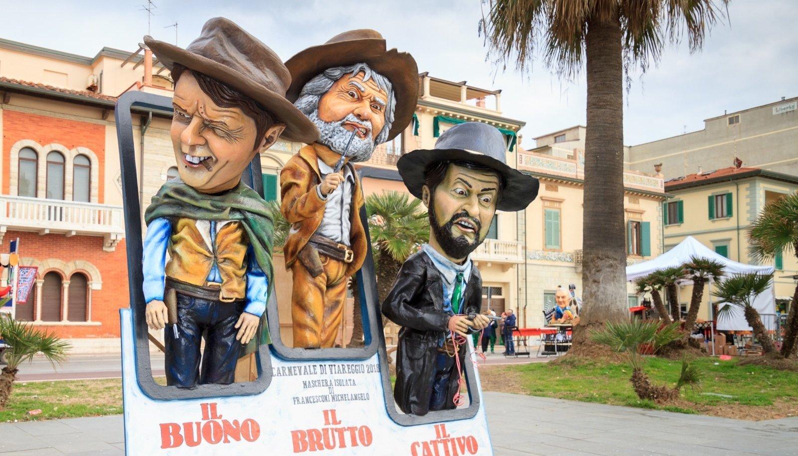 HEA, PAHA JA INETU: Sergio Leone vesterniklassikat meenutav kompositsioon Viareggio karnevalilt. Vasakult paremale on pildil Matteo Renzi, Demokraatliku Partei juht; Beppo Grillo, Viie Tähe Liikumise maskott; Matteo Salvini, Liiga juht. Märtsist maini kes