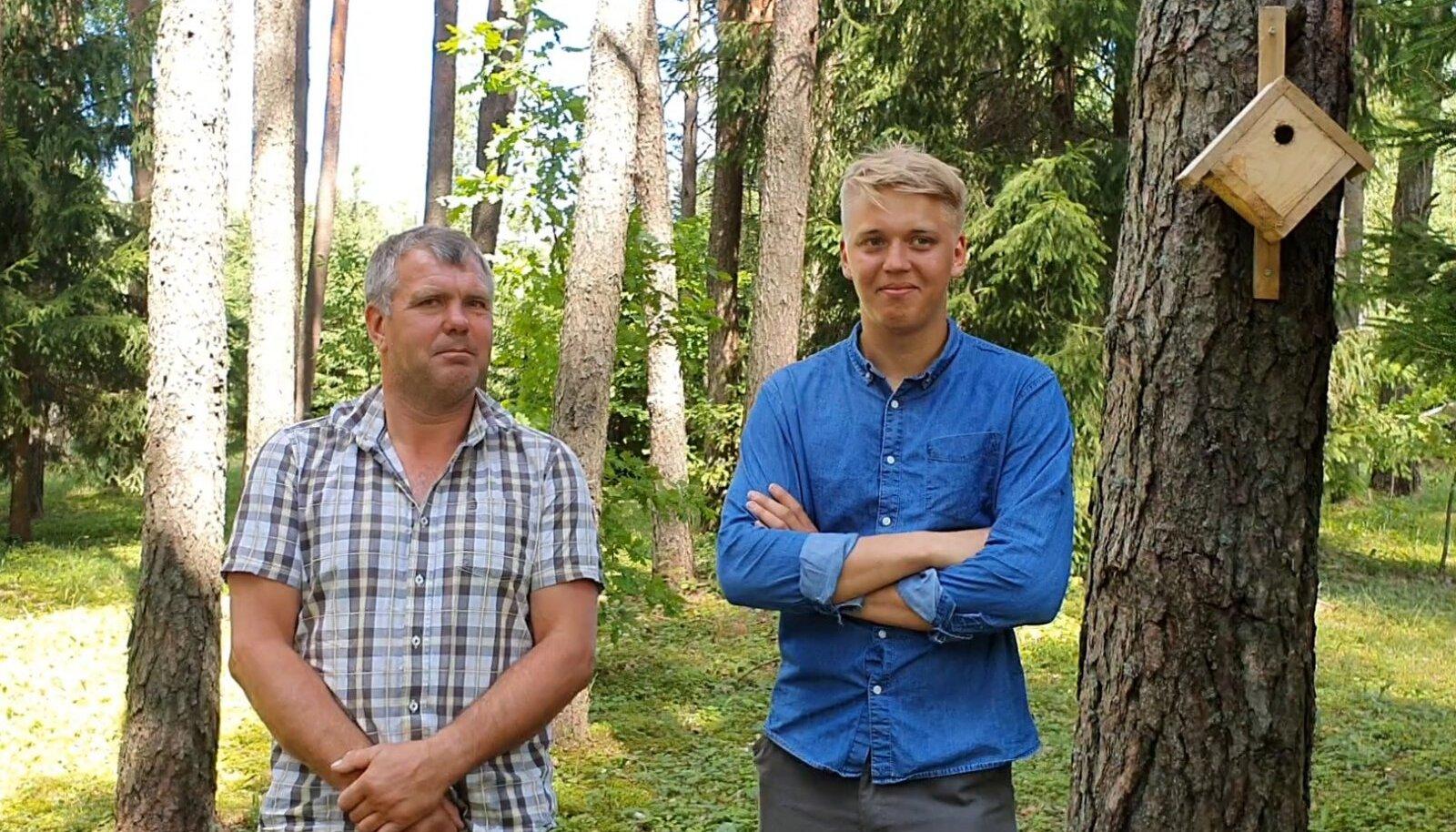 Rain (vasakul) ja Ralf Elfenbein kandideerivad koos parimaks metsamajandajaks.