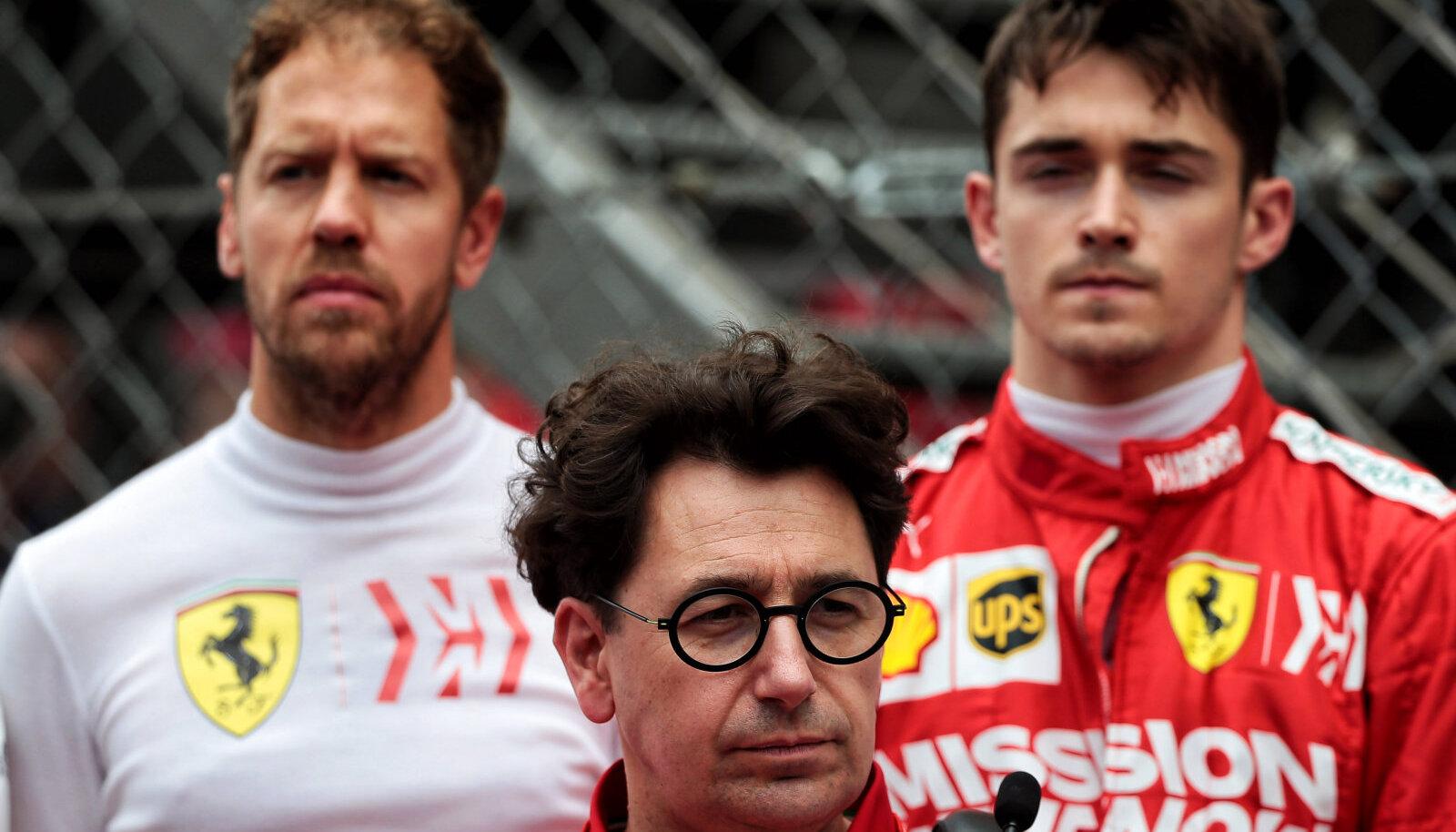 Sebastian Vettel, Charles Leclerc ja Ferrari pealik Mattia Binotto