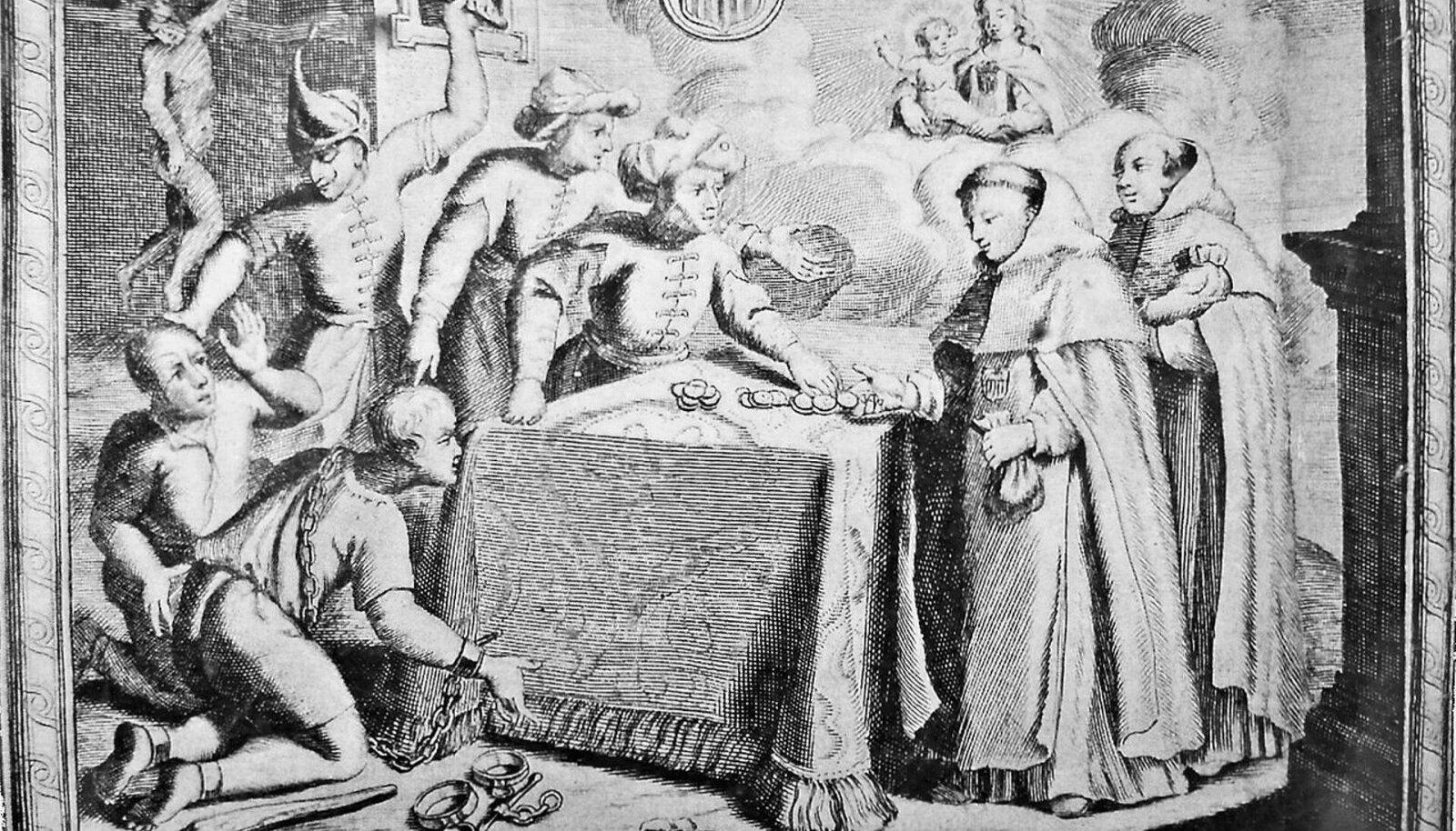 Mungad ostavad Aafrika orjakauplejate käest vabaks kristlastest orje (Pilt: Wikimedia Commons)