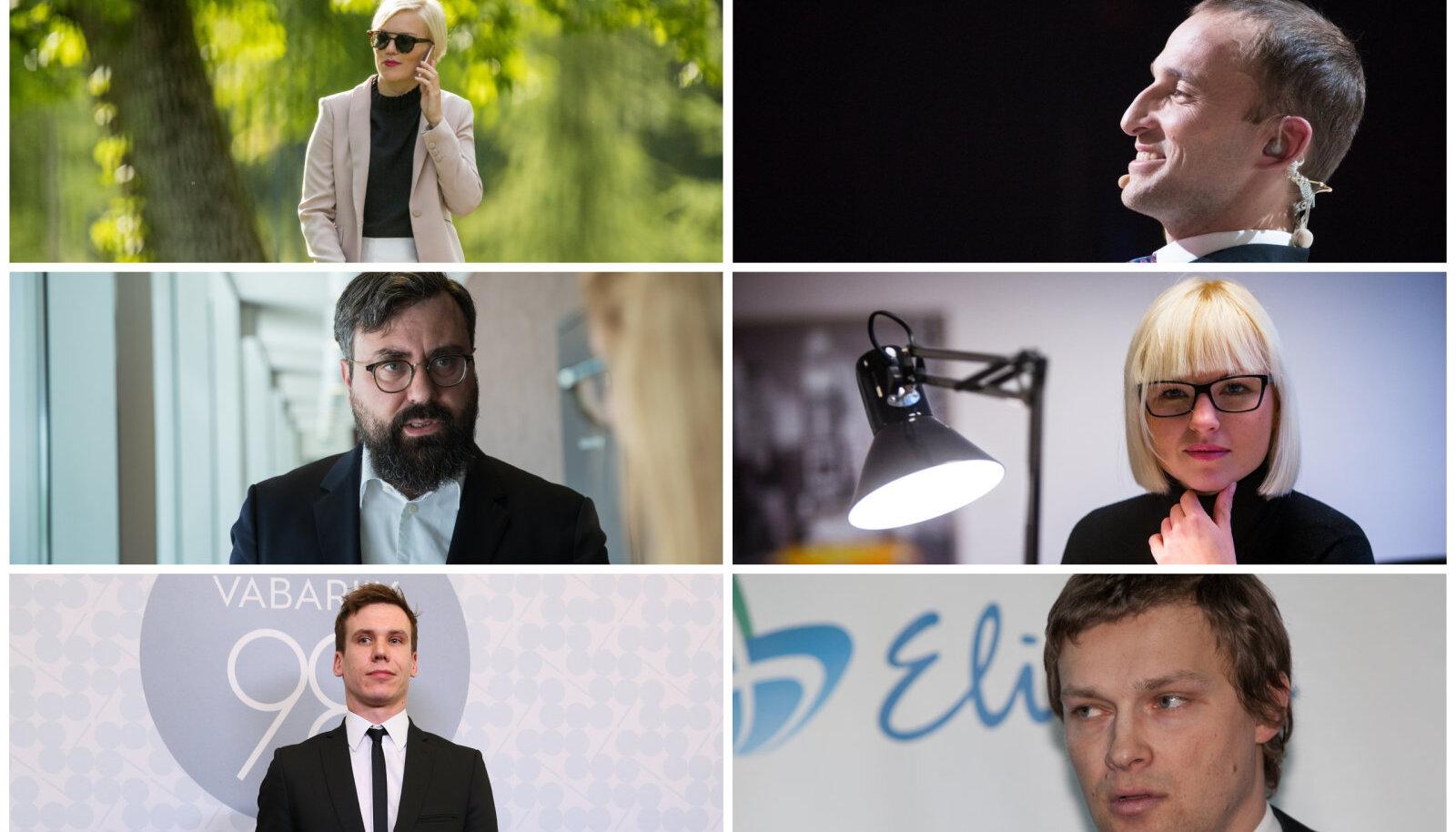 Ülevalt vasakult kellaosuti suunas: Ave Tampere, Märt Avandi, Karoli Hindriks, Kristjan Leppik, Rasmus Kaljujärv, Indrek Kasela