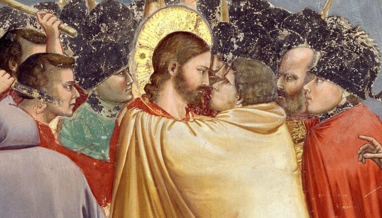 Piibli järgi andis Juudas arreteerijatele märku, suudeldes Jeesust (Pilt: Giotto di Bondone / Wikimedia Commons)
