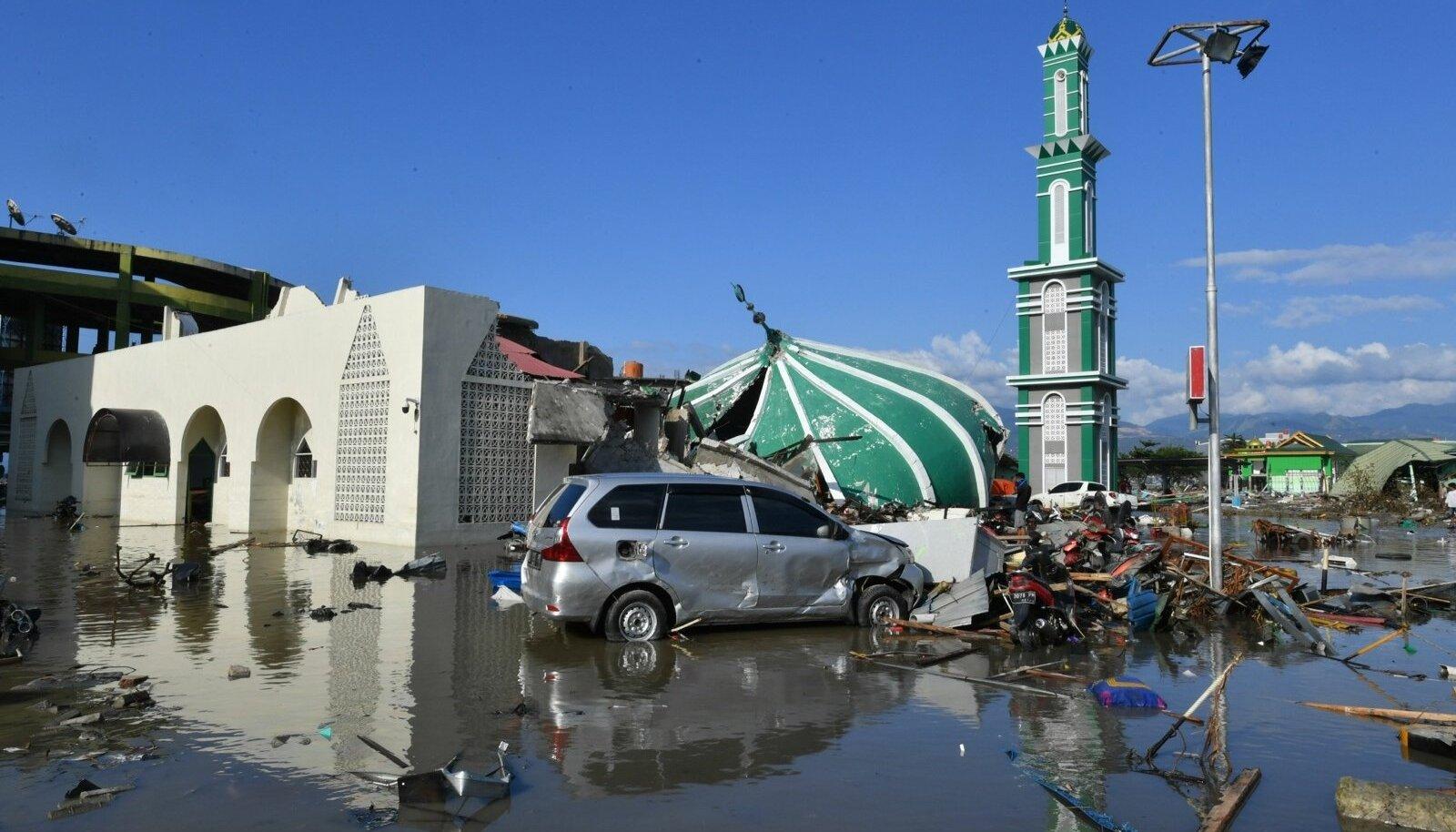 Kokkuvarisenud ja üleujutatud mošee rusud Palus