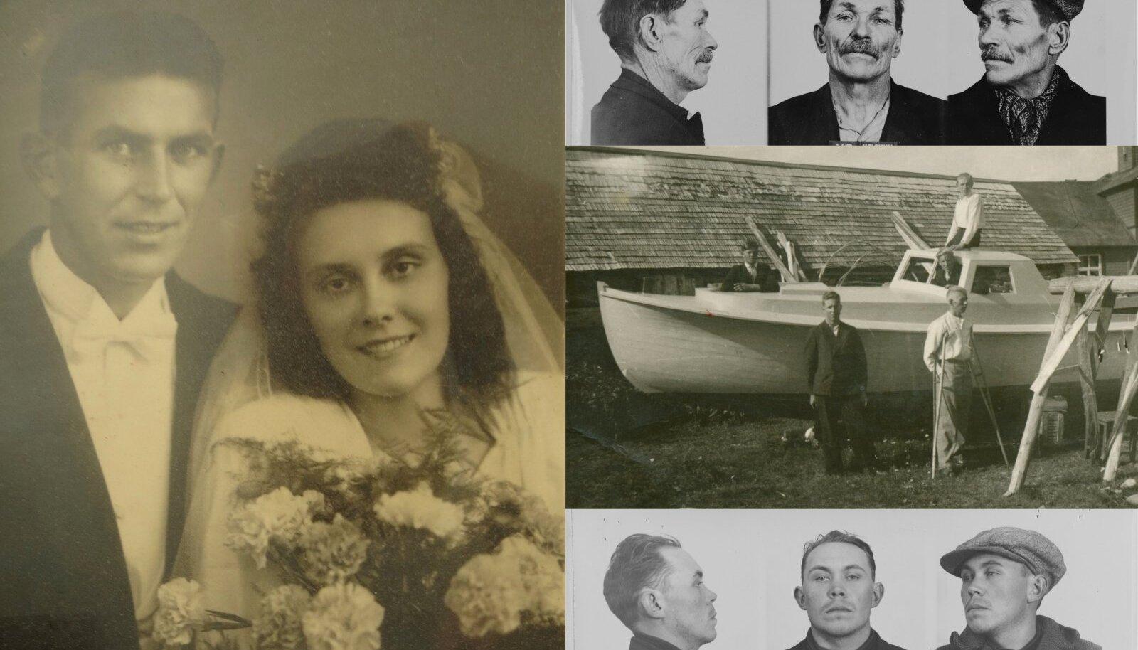 SEDA PAATI POLE TEHTUD LINNULUUST: Helmut Aksberg istub 1942. aastal Aksi saarel ehitatava paadi katusel ja tema vend Verner seisab selle ees karkudel. Valmis paati kasutati inimeste salaveoks.