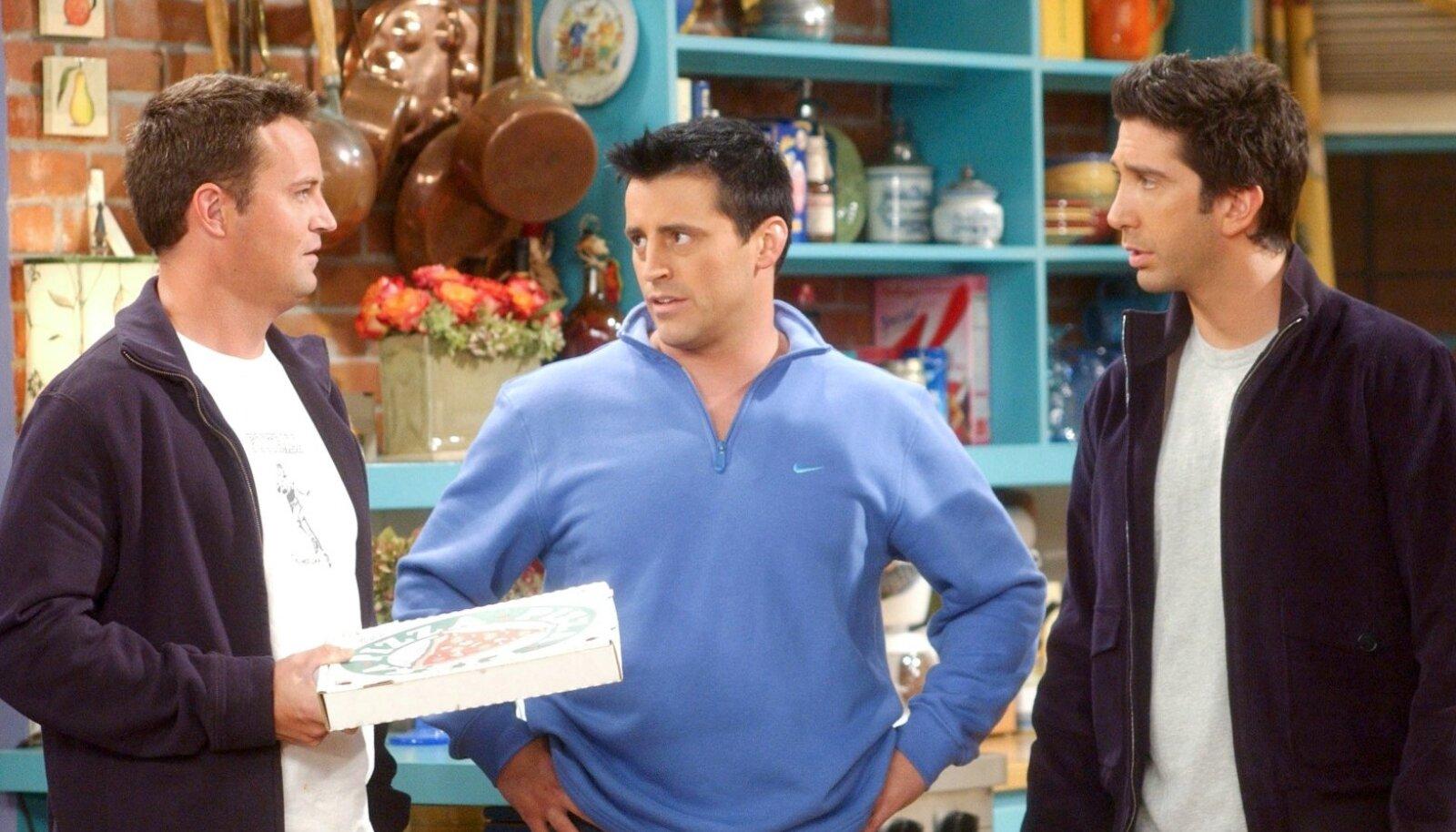 """Matthew Perry, left, Matt LeBlanc and David Schwimmer in an episode of """"Friends."""""""