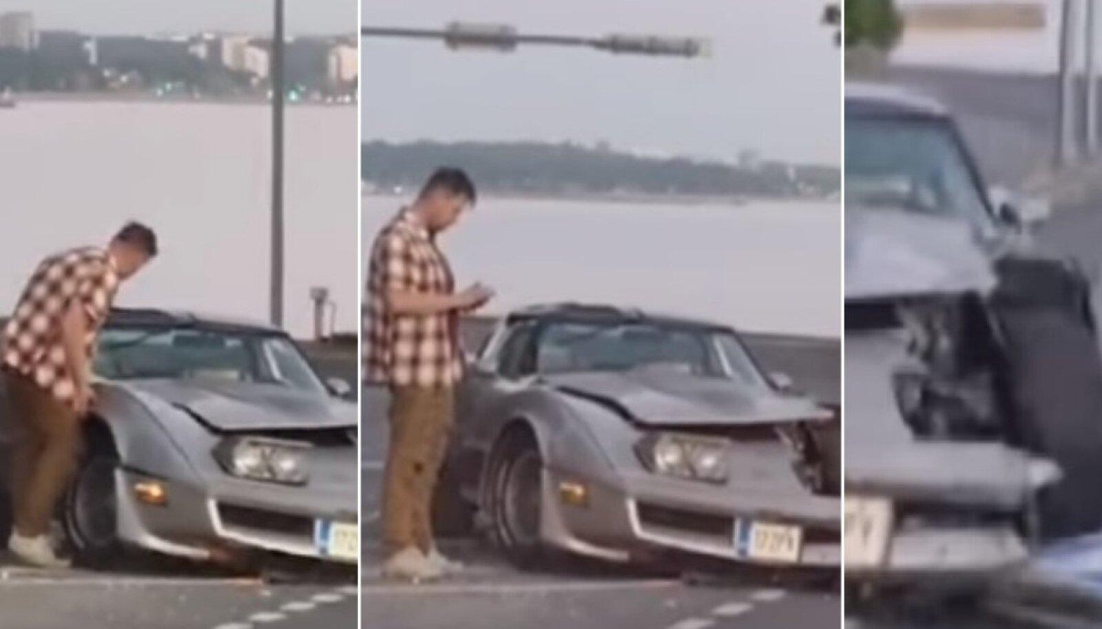 Noa restorani juures sõitis eile joobetunnustega juht kortsu Chevrolet Corvette