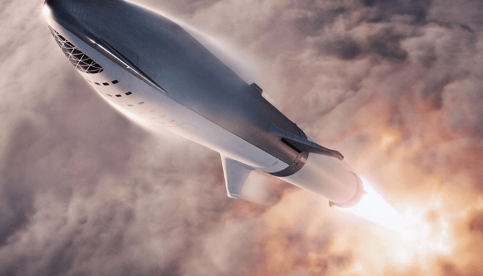 Kunstniku kujutis õhku tõusvast Starshipi raketist