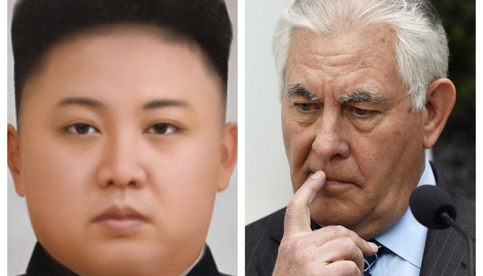 Kollaaž: vasakul Põhja-Korea diktaator Kim Jong-Un (foto: Wikimedia Commons / P388388),  paremal USA riigisekretär Rex Tillerson (foto: AFP)