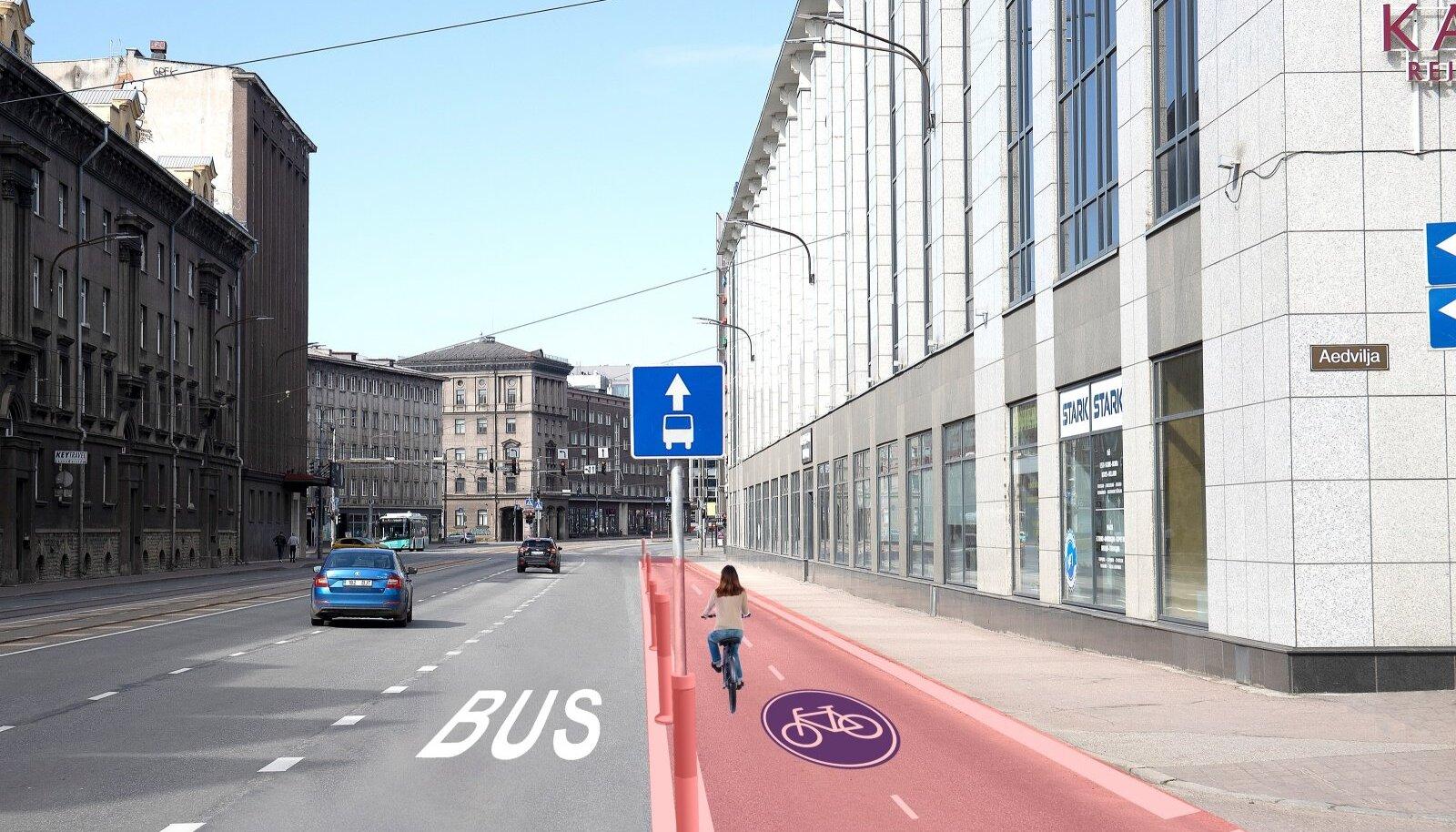Sellesse Narva maantee lõiku kavatsetakse rattatee rajada sõidutee arvel.