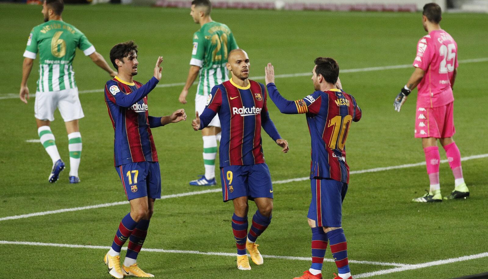 Vasakult: Fransisco Trincao, Martin Braithwaite ja Lionel Messi
