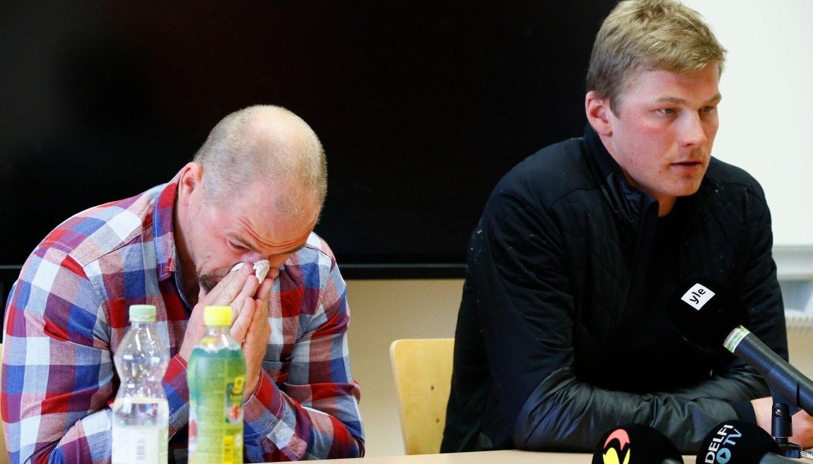 Anti Saarepuu ja Karel Tammjärv tänasel Suusaliidu pressikonverentsil Seefeldis.
