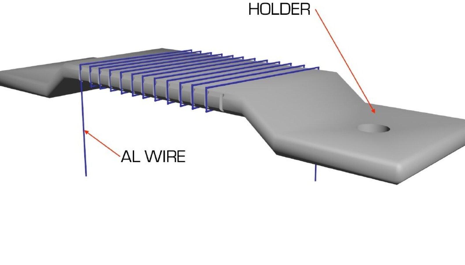 Tartu Ülikooli füüsika instituudi teadurite poolt patenteeritud meetodiga kaetud alumiiniumtraadi katserakis Estcube-2 satelliidi pardal. Illustratsioon: Estcube-2 meeskond.
