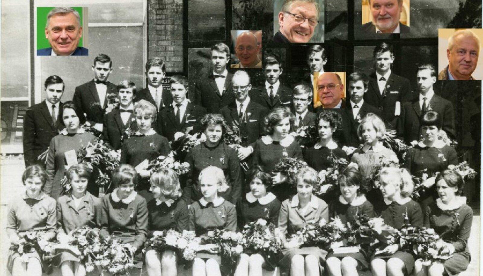 TARKPEADE KLASS: Tartu 5. keskkooli 21.lennu keemiaklass lõpetas kooli 1967. aastal. Pildil väljatoodud vasakult paremale: Mati Karelson, Kristjan Haller, Mart Saarma, Raivo Uibo, Mart Ustav, Jaak Järv