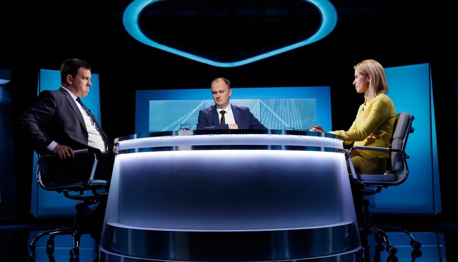 """Tallinn. 15.10.2019 ERR-i otsesaates """"Esimene stuudio"""" olid külalisteks Jüri Ratas ja Kaja Kallas. Saatejuht Andres Kuusk"""
