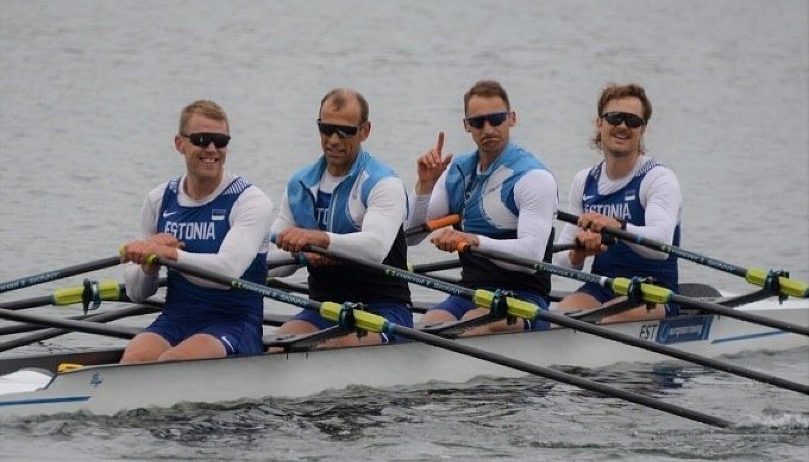 Eesti paarisaeruline neljapaat koosseisus Kaspar Taimsoo (vasakult), Tõnu Endrekson, Allar Raja ja Jüri-Mikk Udam.