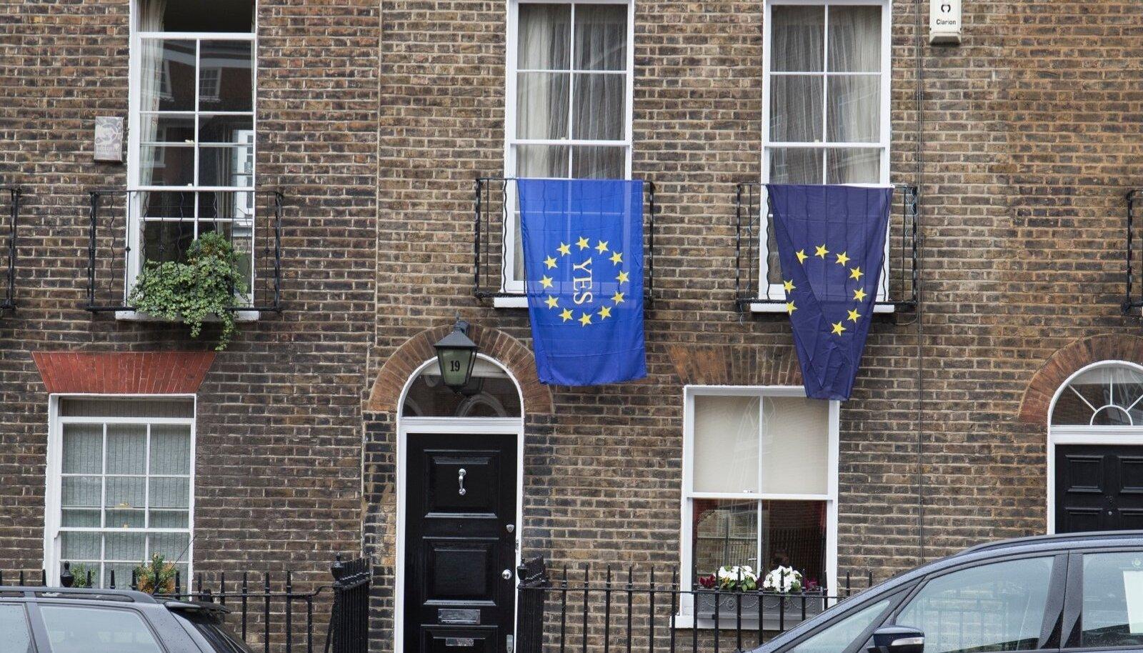 Euroopa Liidu lipud Brexiti rahvahääletuse ajal Londonis.