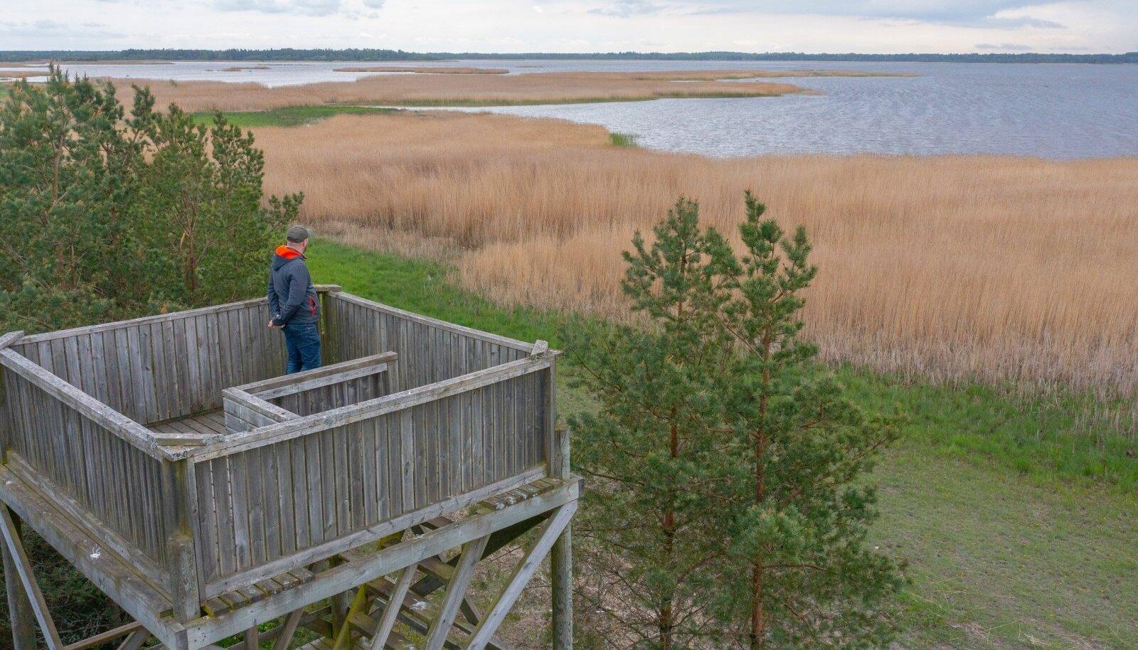 Silma Õpikoja loodusõppe juhendaja Marko Valker seisab linnuvaatlustornis, kuhu harjumuspärast rada pidi enam minna ei saa.