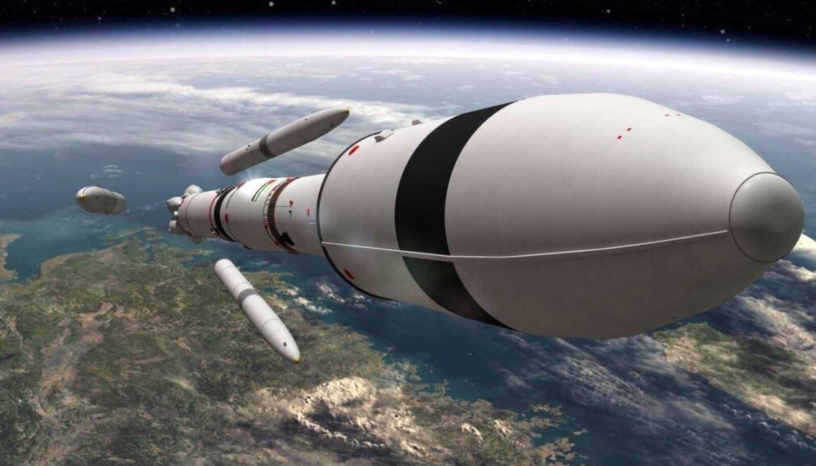 Kunstniku ettekujutus sondi kandvast stardiraketist