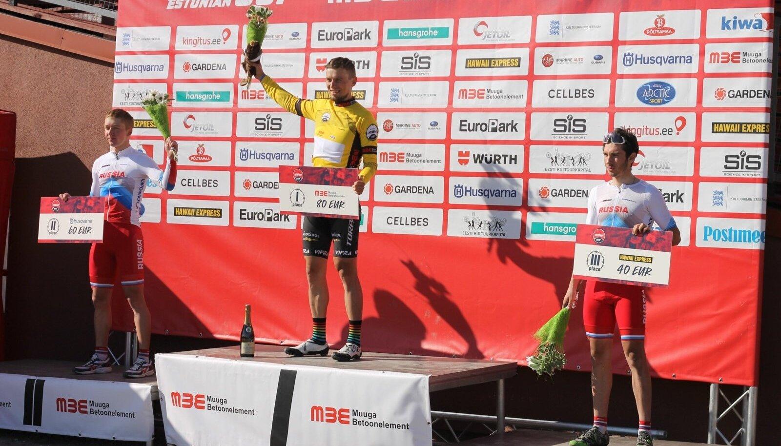 Meeste esikolmik, võitja Peeter Pruus (kollases)