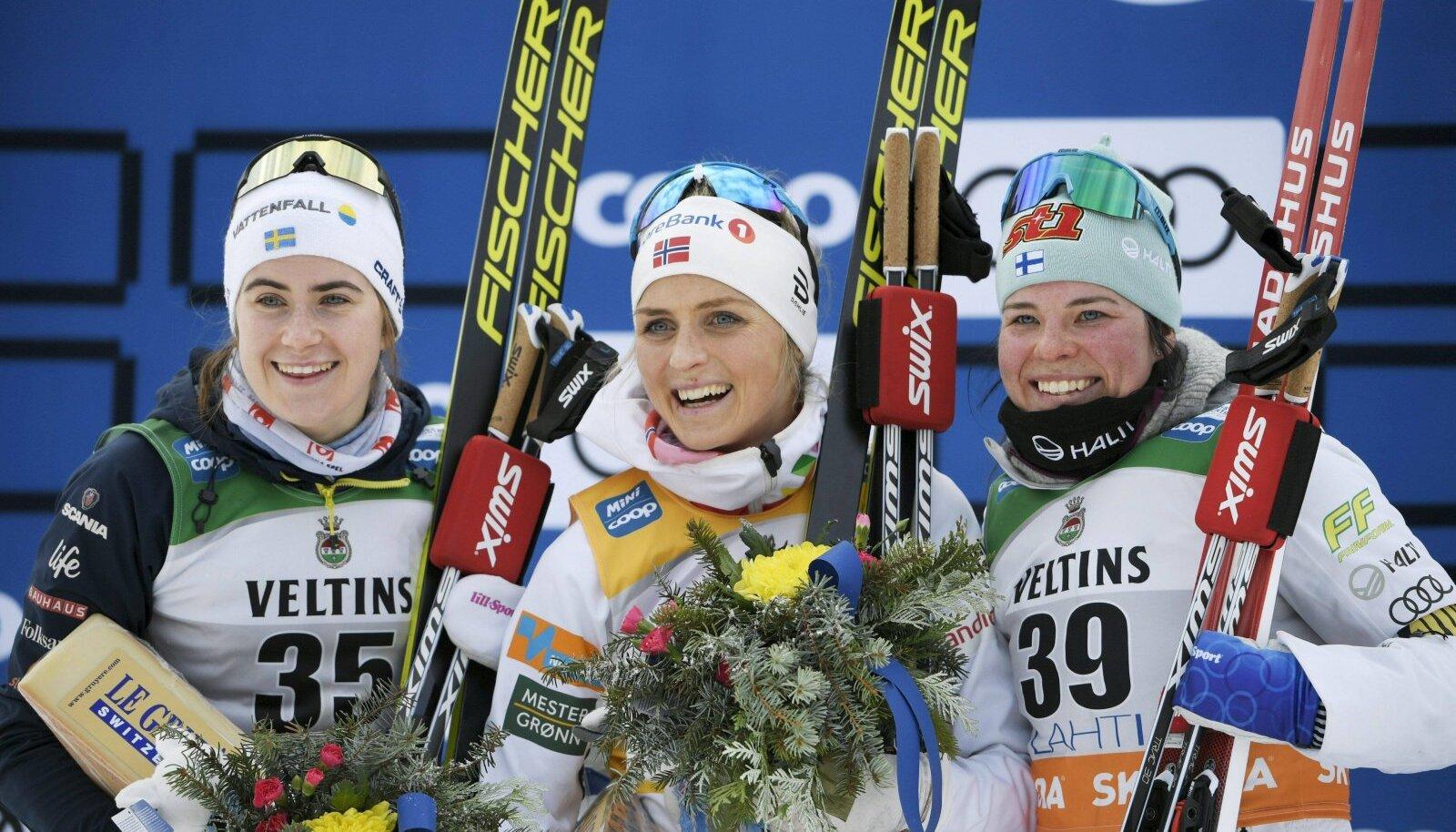 Ebba Andersson, Therese Johaug ja Krista Pärmäkoski