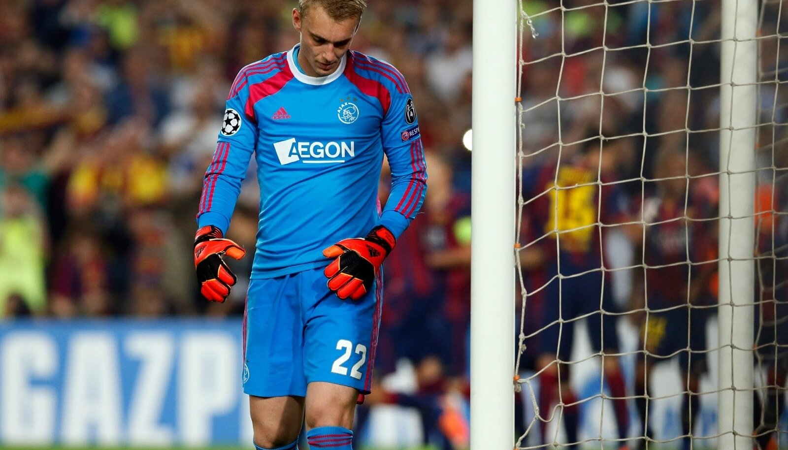 Ajax Amsterdam's goalkeeper Cillessen reacts after conceding a goal to Barcelona during their Champions League soccer match in Barcelona
