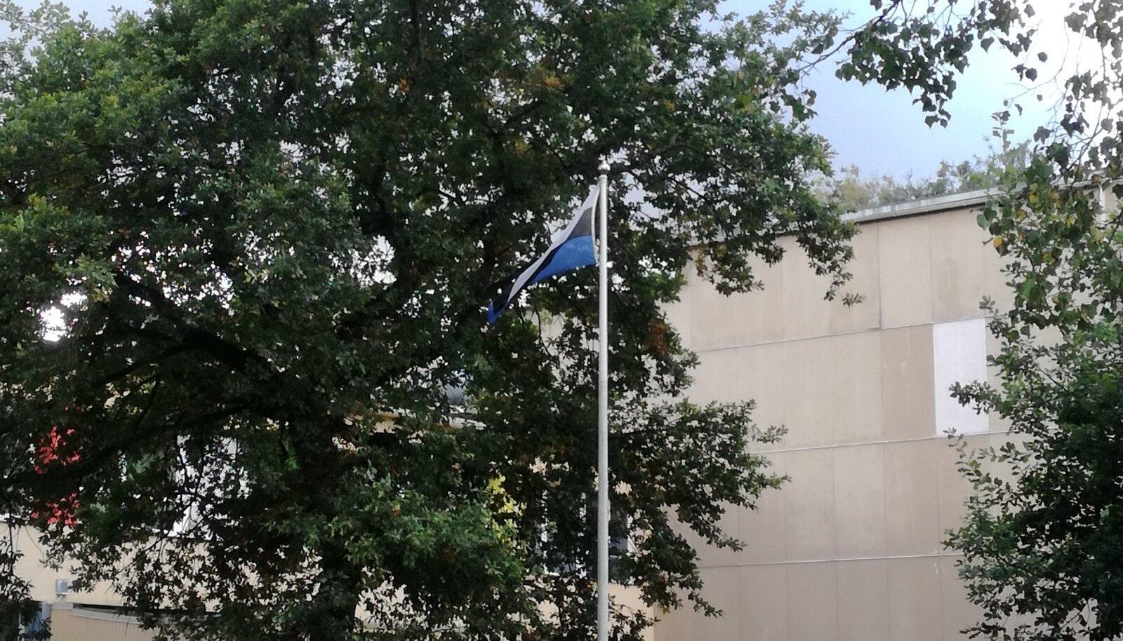 Tagurpidi Eesti lipp Jõhvi kooli õuel