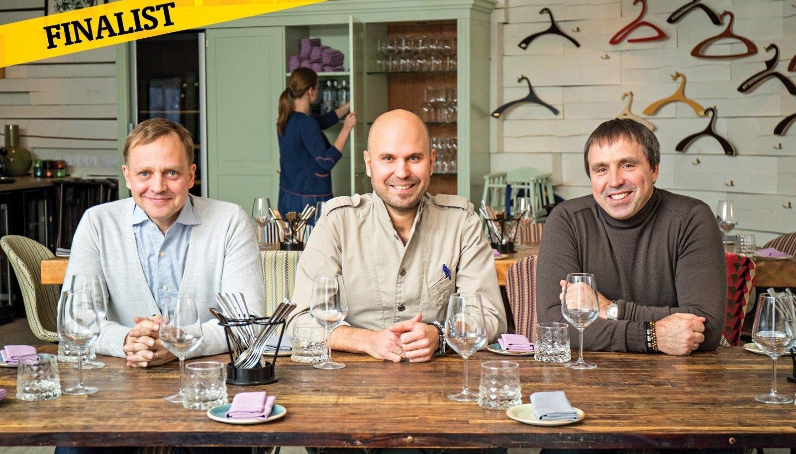 Marti Siimann, Tõnis Siigur ja Marko Zukker ehitasid üles Eesti kõige parema restoraniketi.Marti Siimann, Tõnis Siigur ja Marko Zukker ehitasid üles Eesti kõige parema restoraniketi.