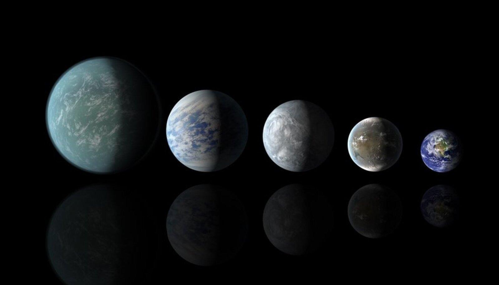 Seni avastatud arvatavalt elu toetavad eksoplaneedid Kepler-22b, Kepler-69c, Kepler-62e, Kepler 62f ja Maa
