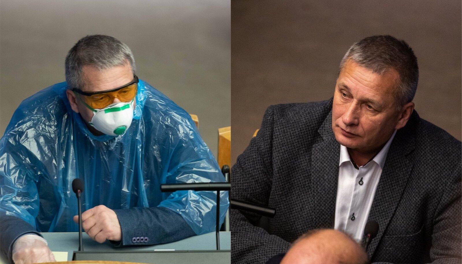 KEVADED POLE VENNAD: 2020. aasta aprillis kandis Grünthal parlamendis viiruse tõrjeks kilemantlit. Tänavu ei pea ta seda vajalikuks, sest on vahepeal konsulteerinud Viktor Vassiljeviga.