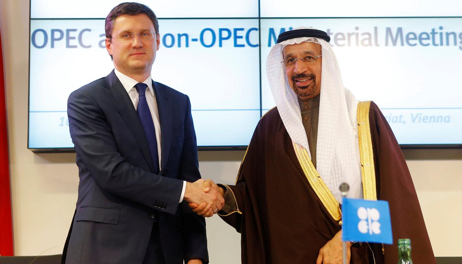 Venemaa energeetikaminister Alexander Novak ja Saudi Araabia energeetikaminister Khalid al-Falih
