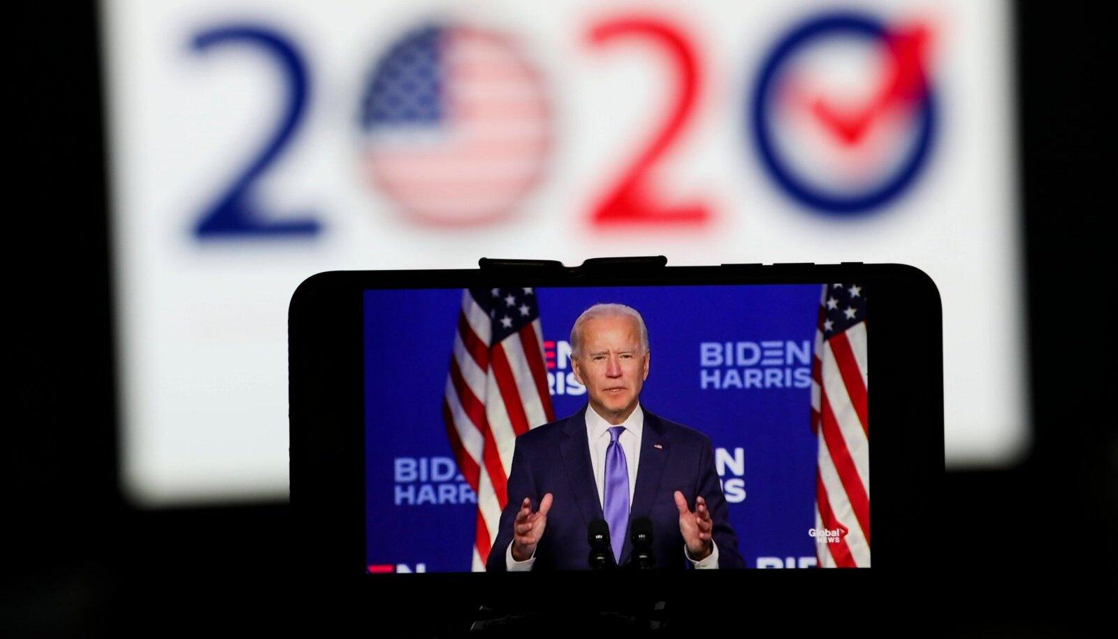Joe Biden reedel Wilmingtonis kõnet pidamas ja võitu ennustamas, kuid mitte veel välja kuulutamas.