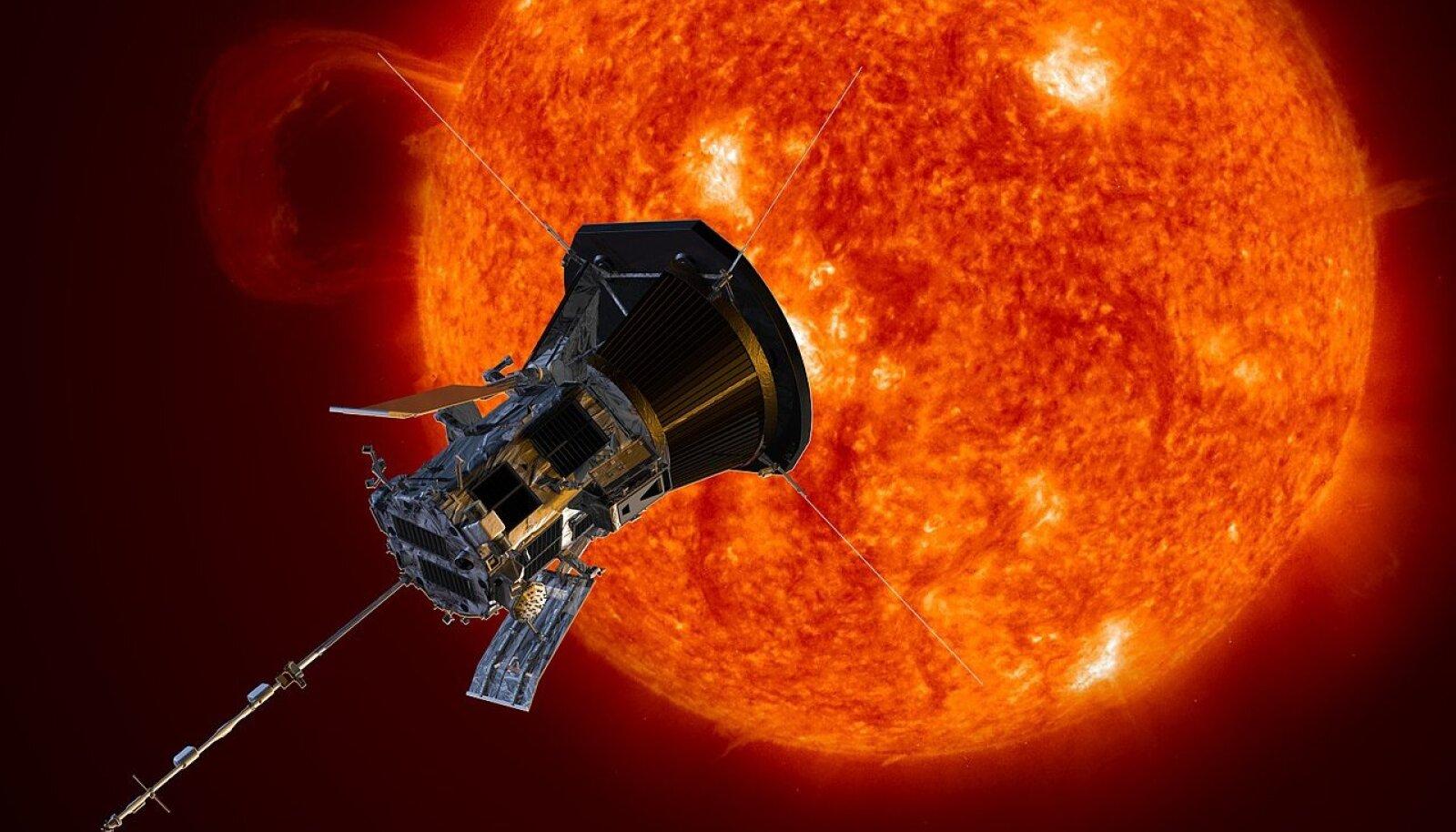 Kunstniku nägemus Päikese lähedal viibivast Parker-sondist (Wikimedia Commons / NASA/Johns Hopkins APL/Steve Gribben)