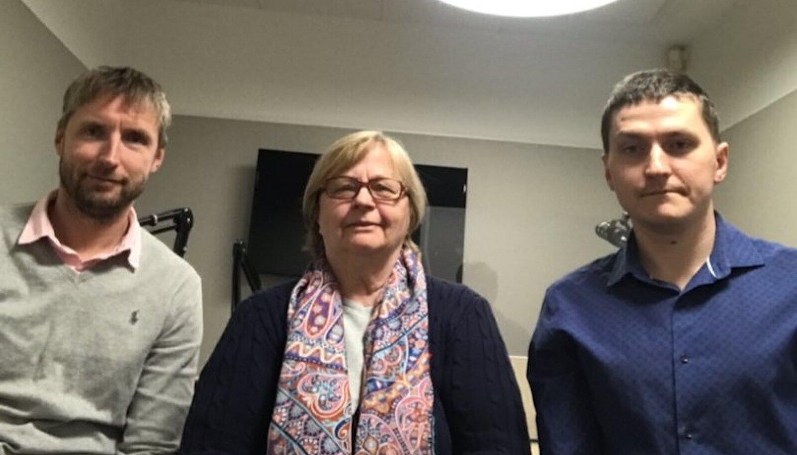 Riho Kallus, Aita Põldma ja Gunnar Leheste Delfi Tasku podcasti stuudios.