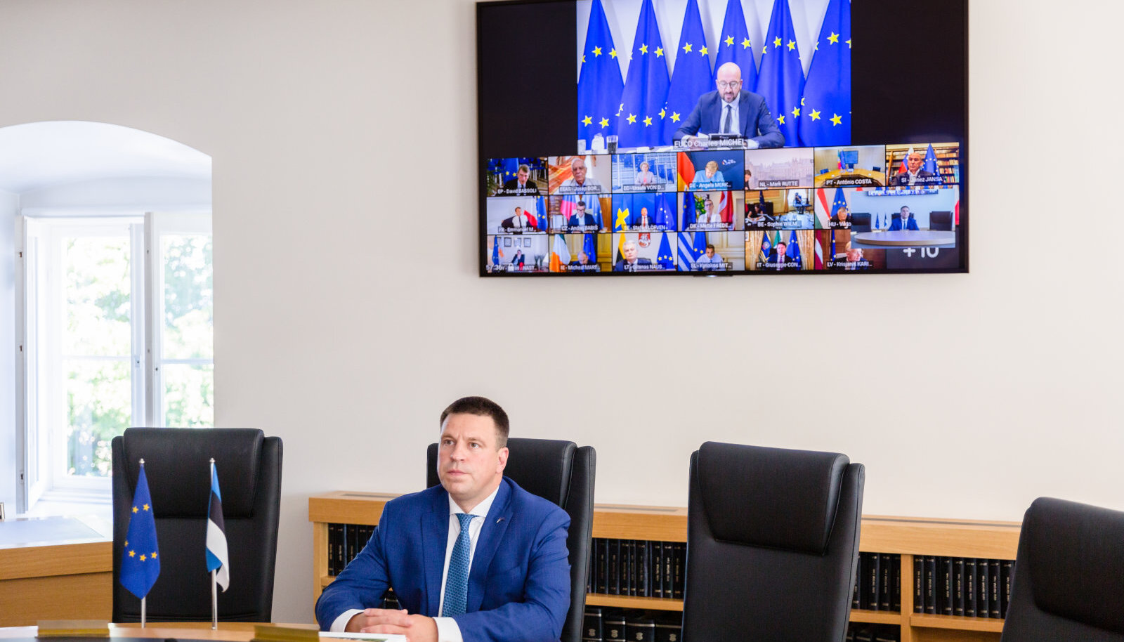 Peaminister Jüri Ratas erakorralisel Euroopa Ülemkogu videokohtumisel