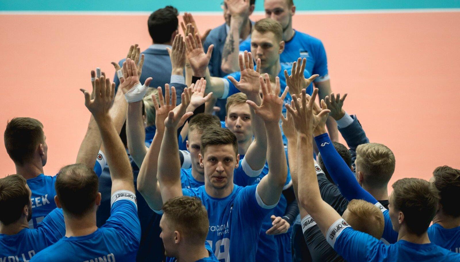 Eesti võrkpallikoondisel oli põhjust käsi püsti ajada.