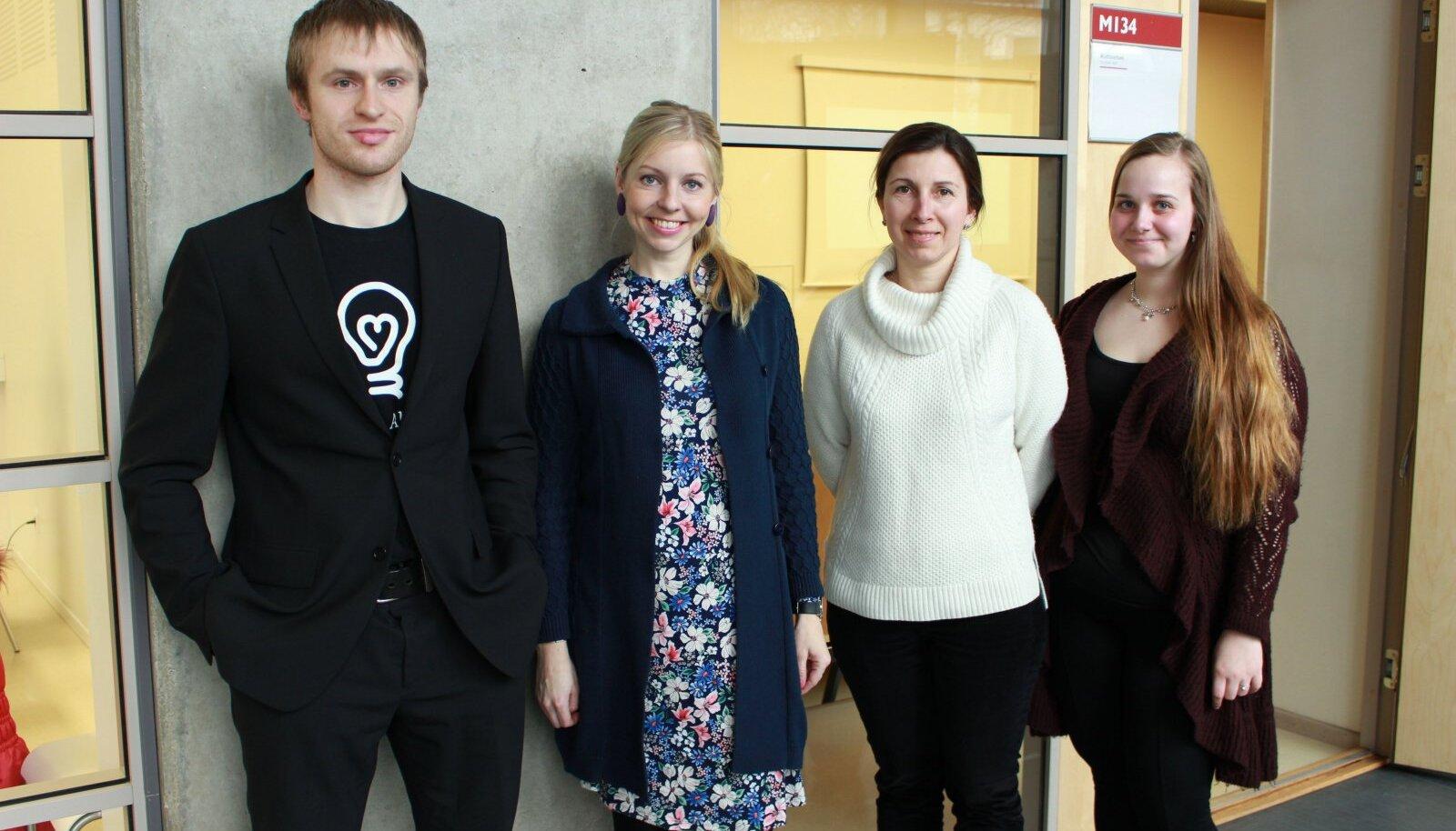 Efektiivse altruismi uurijad Risto Uuk, Helen Külaots, Kristina Lahe ja Annika Loor