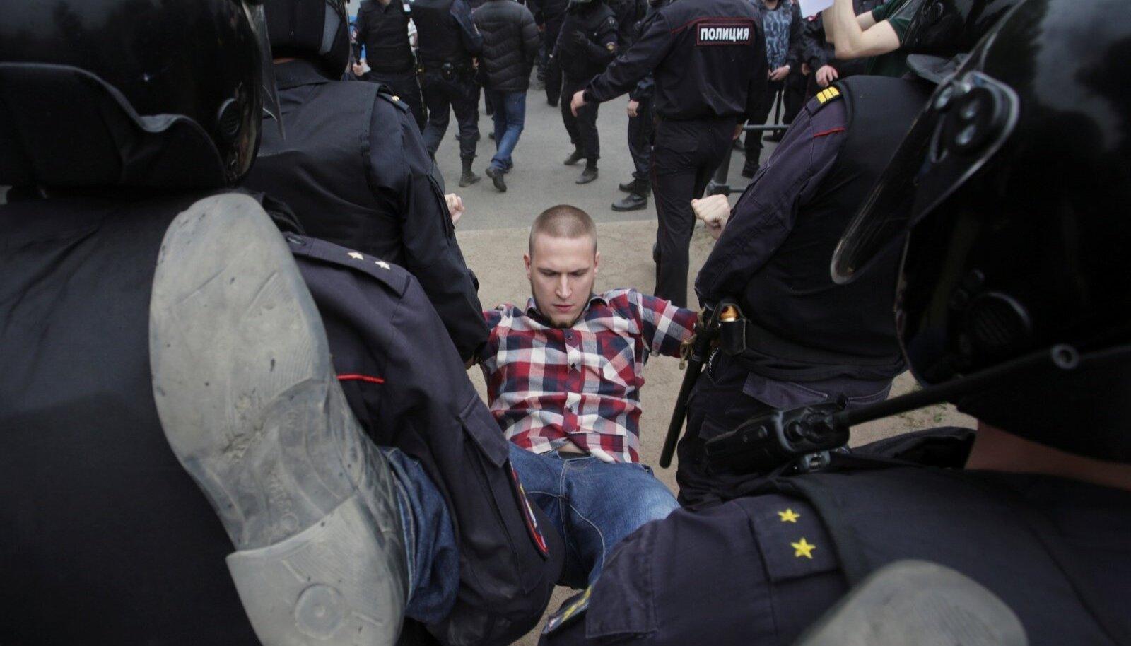 Valitsusevastane meeleavaldus 2017. aasta suvel Peterburis.