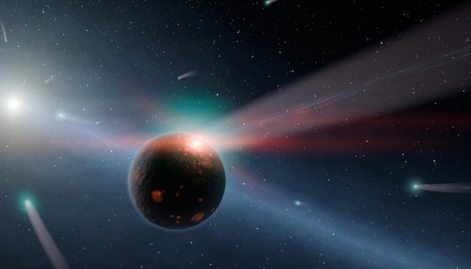 NASA ettekujutus komeedi kokkupõrkest kauge planeediga