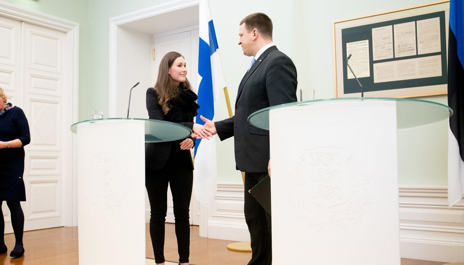 UUS VOOR: Sanna Marin ja Jüri Ratas sel reedel Stenbocki majas.
