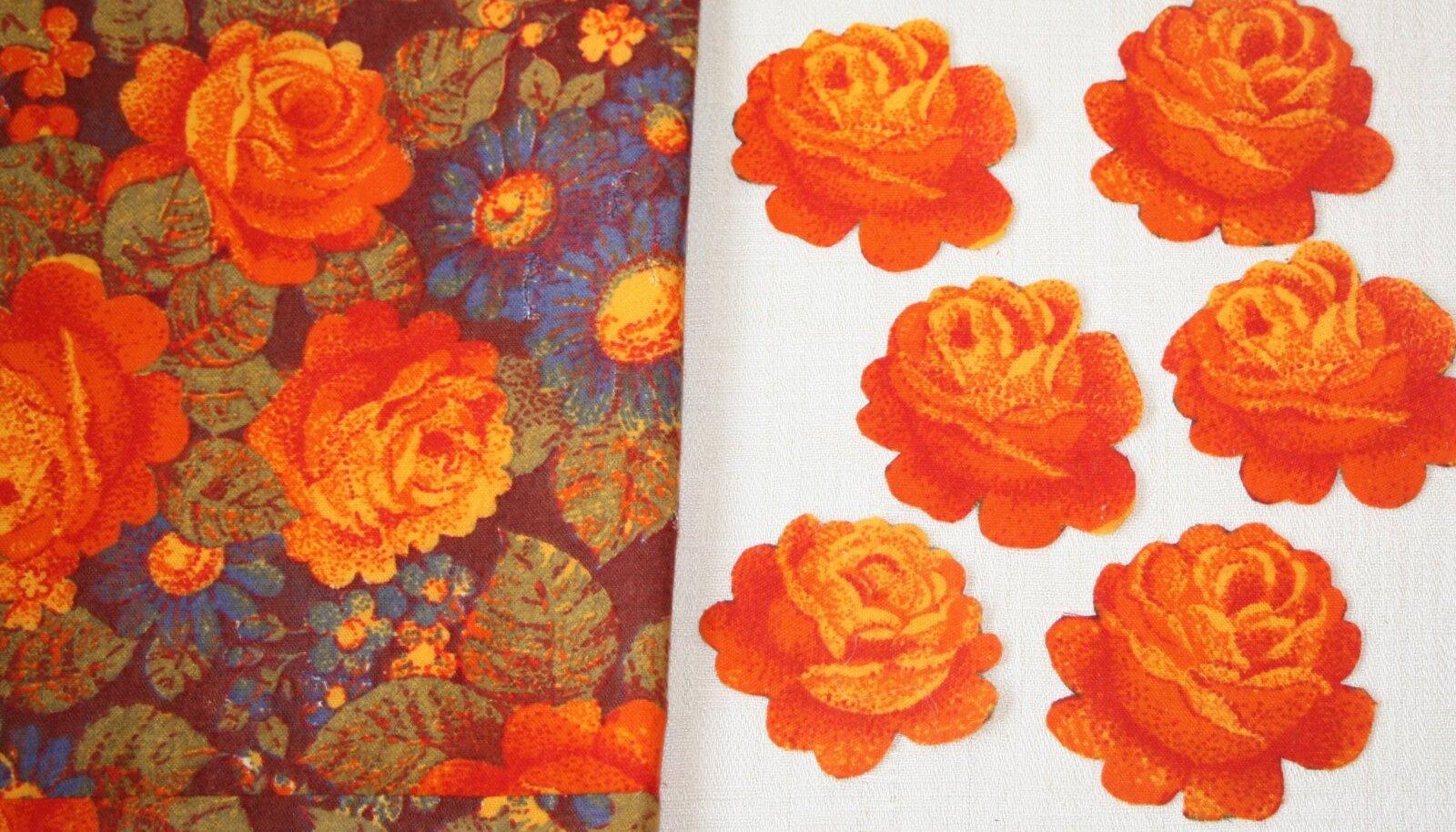 Mõnelt kangalt on väga lihtne välja lõigata selgepiirilisi lilli ning neid esemete kaunistamiseks kasutada.