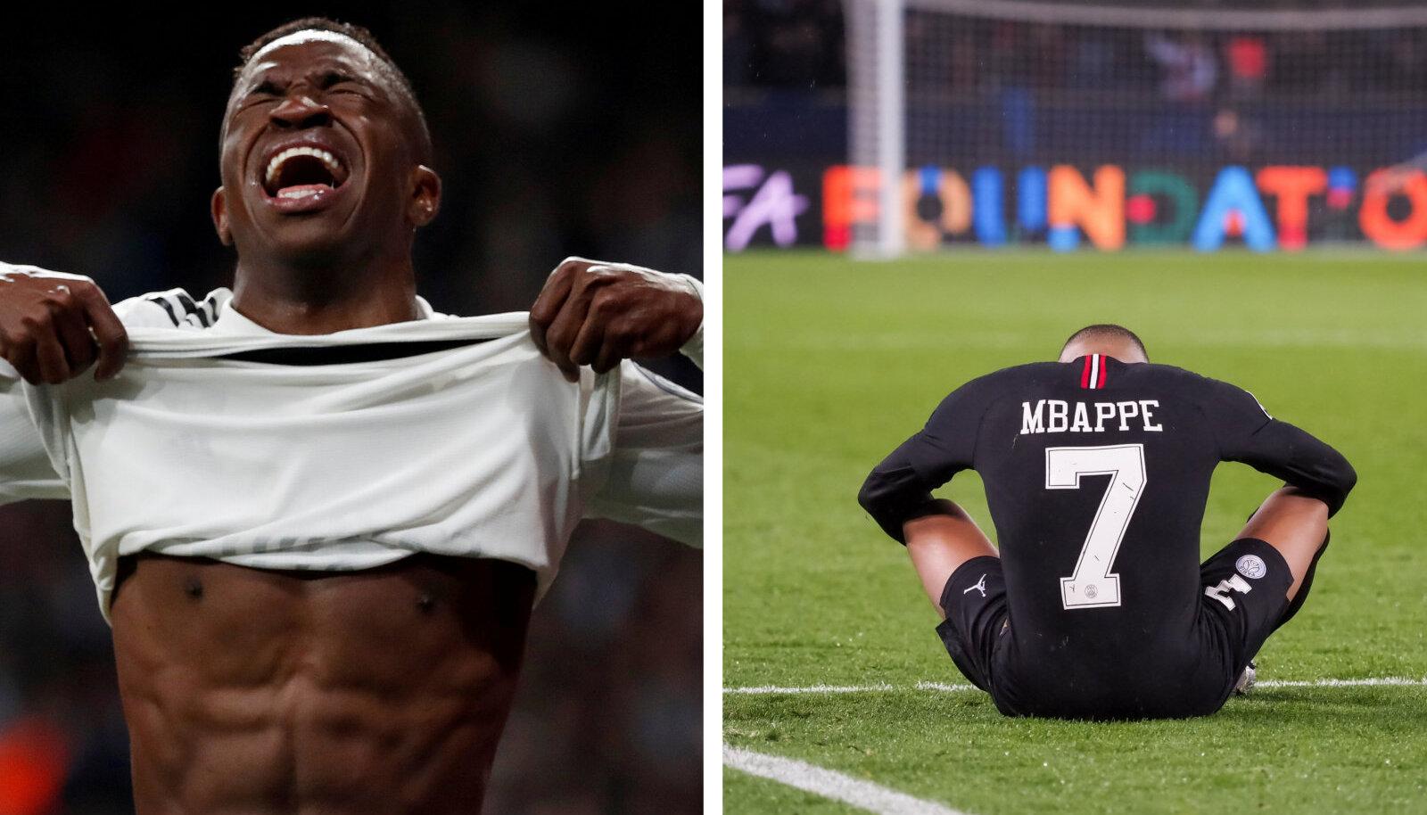 Reali ründaja Vinicius jr ja PSG ründaja Kylian Mbappe langesid mõlemad Meistrite liigast välja