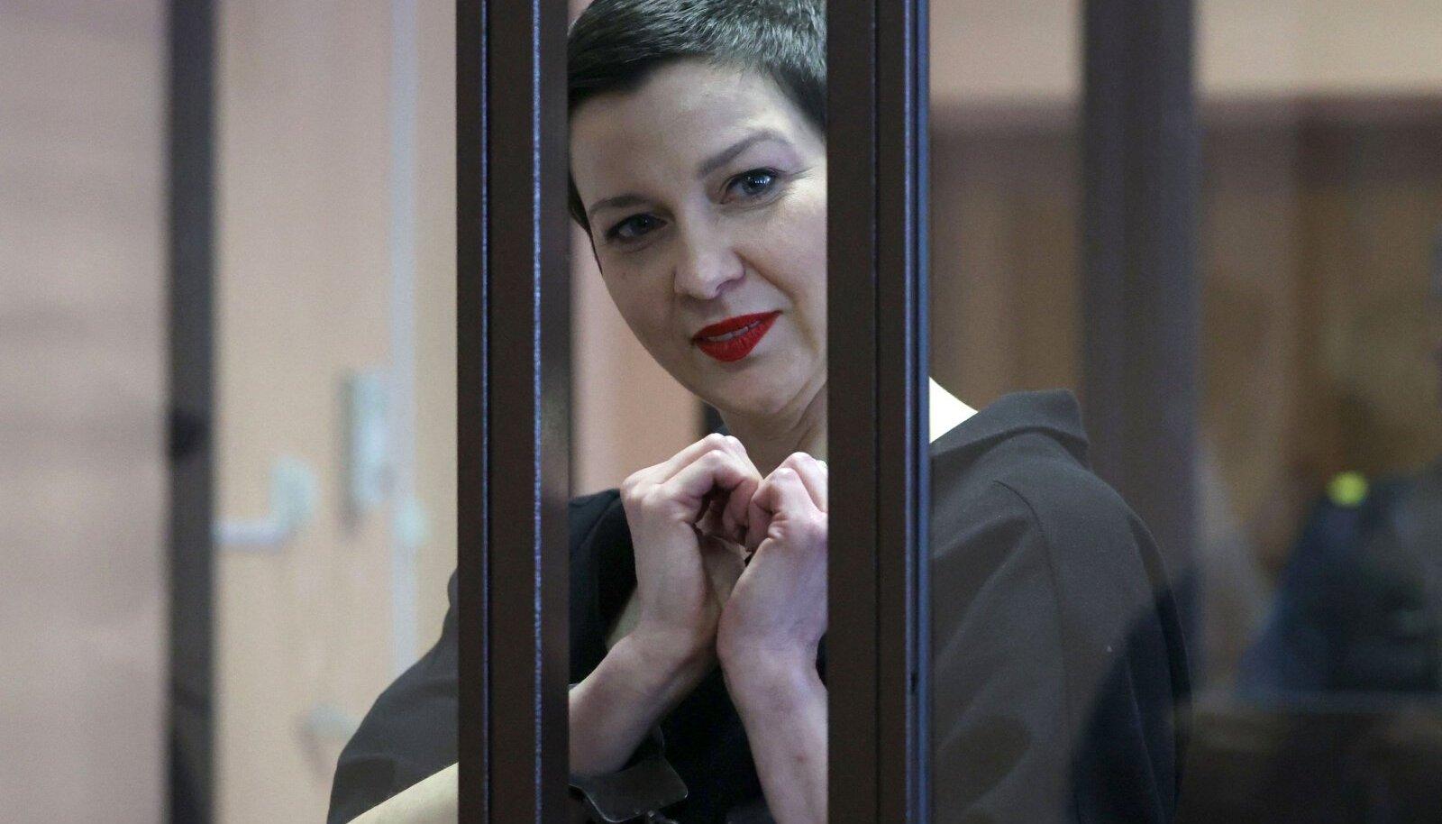 Maria Kalesnikava täna Minskis kohtus.